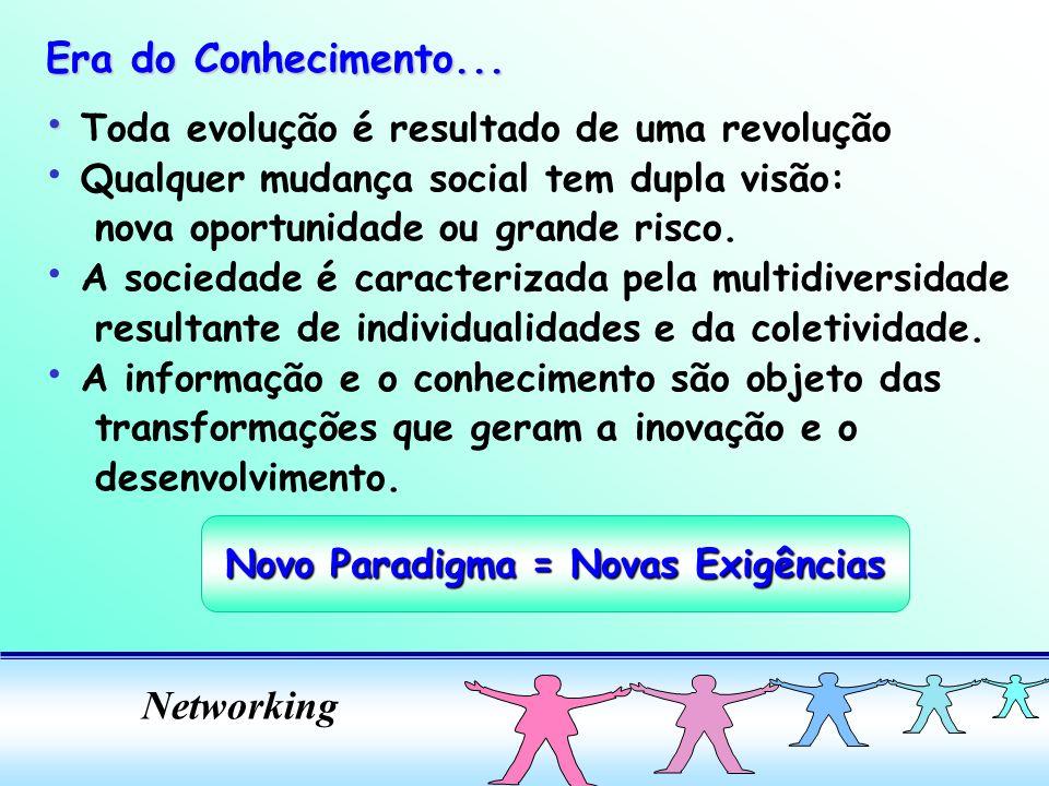 Networking Toda evolução é resultado de uma revolução Qualquer mudança social tem dupla visão: nova oportunidade ou grande risco. A sociedade é caract