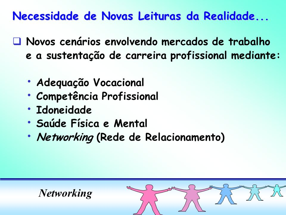 Networking q Novos cenários envolvendo mercados de trabalho e a sustentação de carreira profissional mediante: Adequação Vocacional Competência Profissional Idoneidade Saúde Física e Mental Networking (Rede de Relacionamento) Necessidade de Novas Leituras da Realidade...