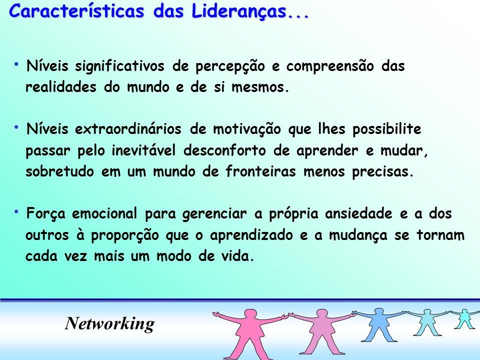 Networking Níveis significativos de percepção e compreensão das realidades do mundo e de si mesmos. Níveis extraordinários de motivação que lhes possi
