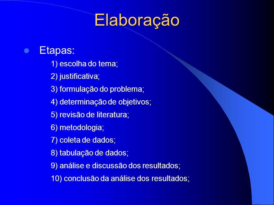 Elaboração Etapas: 1) escolha do tema; 2) justificativa; 3) formulação do problema; 4) determinação de objetivos; 5) revisão de literatura; 6) metodol