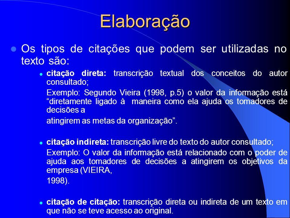 Elaboração Os tipos de citações que podem ser utilizadas no texto são: citação direta: transcrição textual dos conceitos do autor consultado; Exemplo: