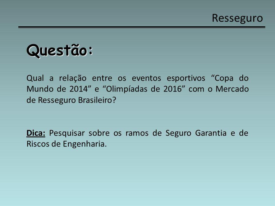 Resseguro Questão: Qual a relação entre os eventos esportivos Copa do Mundo de 2014 e Olimpíadas de 2016 com o Mercado de Resseguro Brasileiro? Dica: