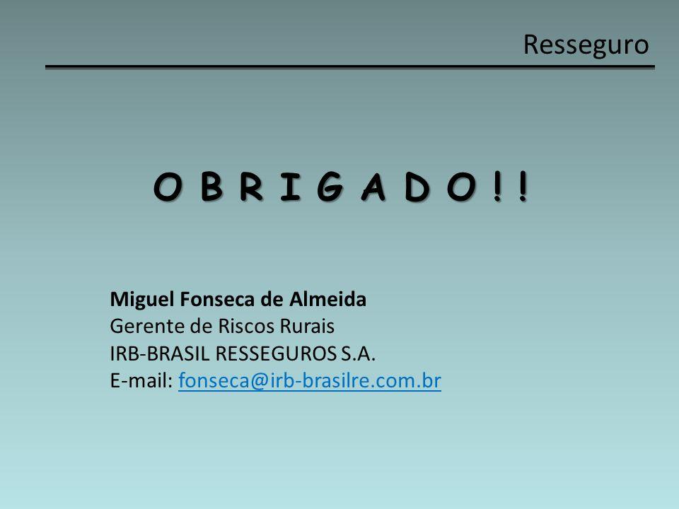 Resseguro O B R I G A D O ! ! Miguel Fonseca de Almeida Gerente de Riscos Rurais IRB-BRASIL RESSEGUROS S.A. E-mail: fonseca@irb-brasilre.com.br