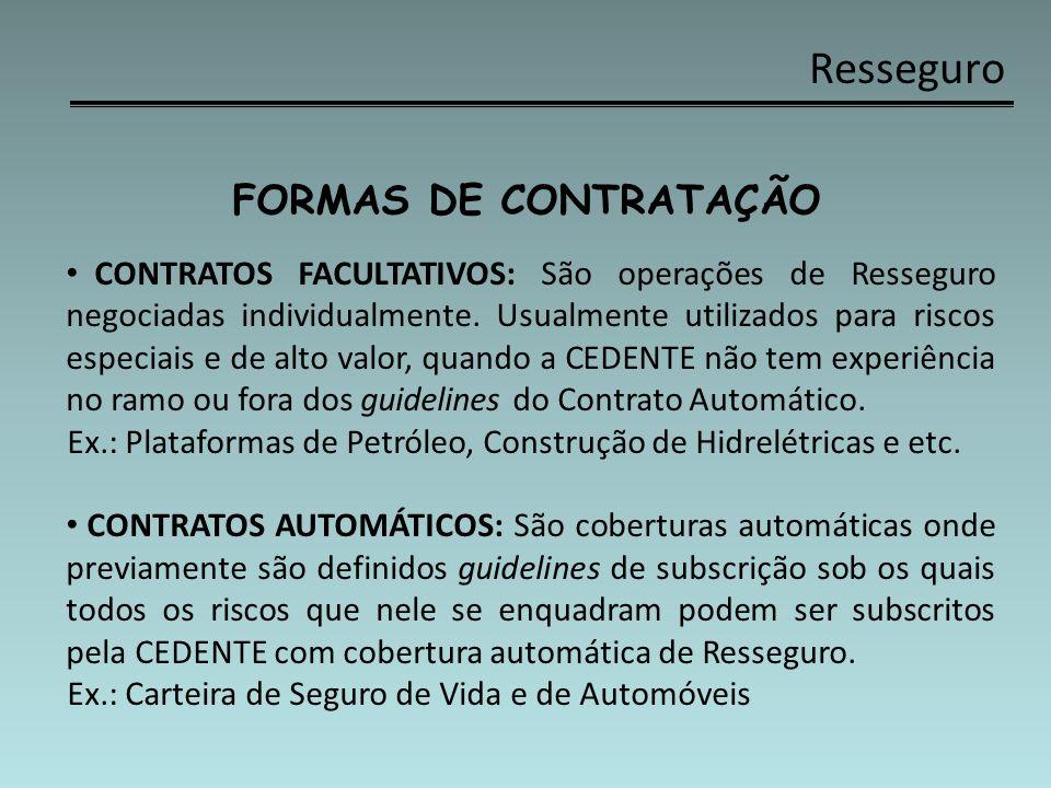 Resseguro FORMAS DE CONTRATAÇÃO CONTRATOS FACULTATIVOS: São operações de Resseguro negociadas individualmente. Usualmente utilizados para riscos espec