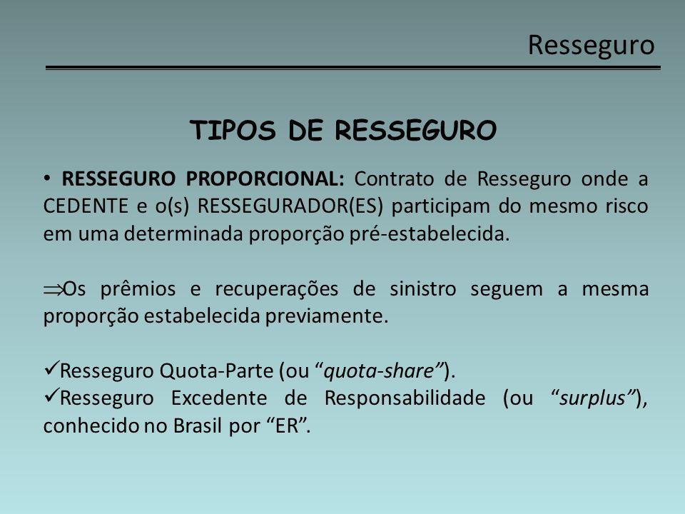 Resseguro TIPOS DE RESSEGURO RESSEGURO PROPORCIONAL: Contrato de Resseguro onde a CEDENTE e o(s) RESSEGURADOR(ES) participam do mesmo risco em uma det