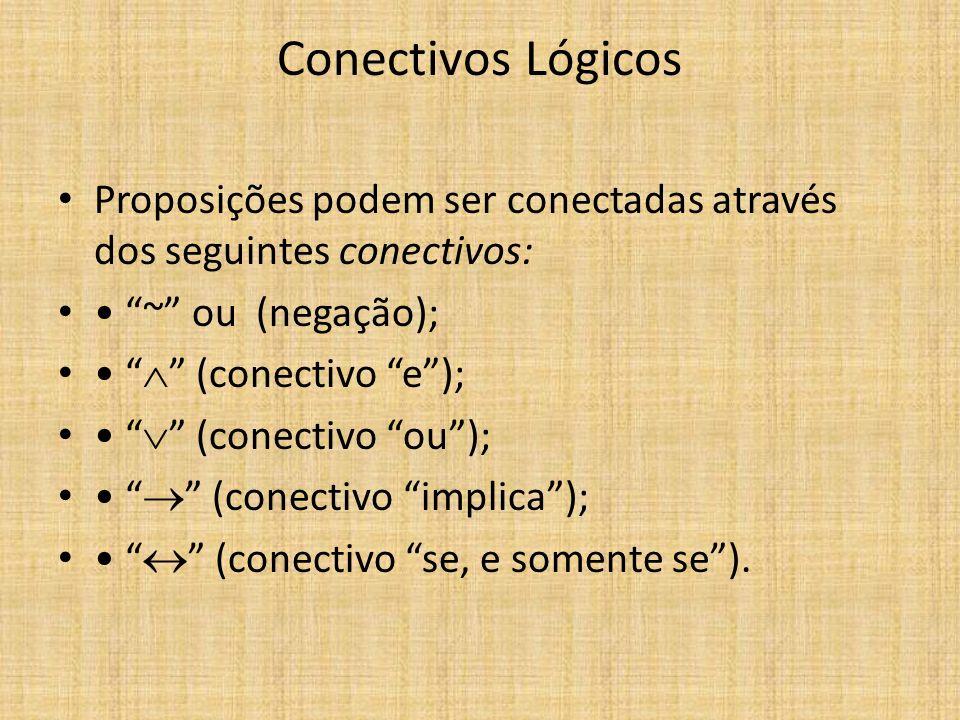 Conectivos Lógicos Proposições podem ser conectadas através dos seguintes conectivos: ~ ou (negação); (conectivo e); (conectivo ou); (conectivo implic