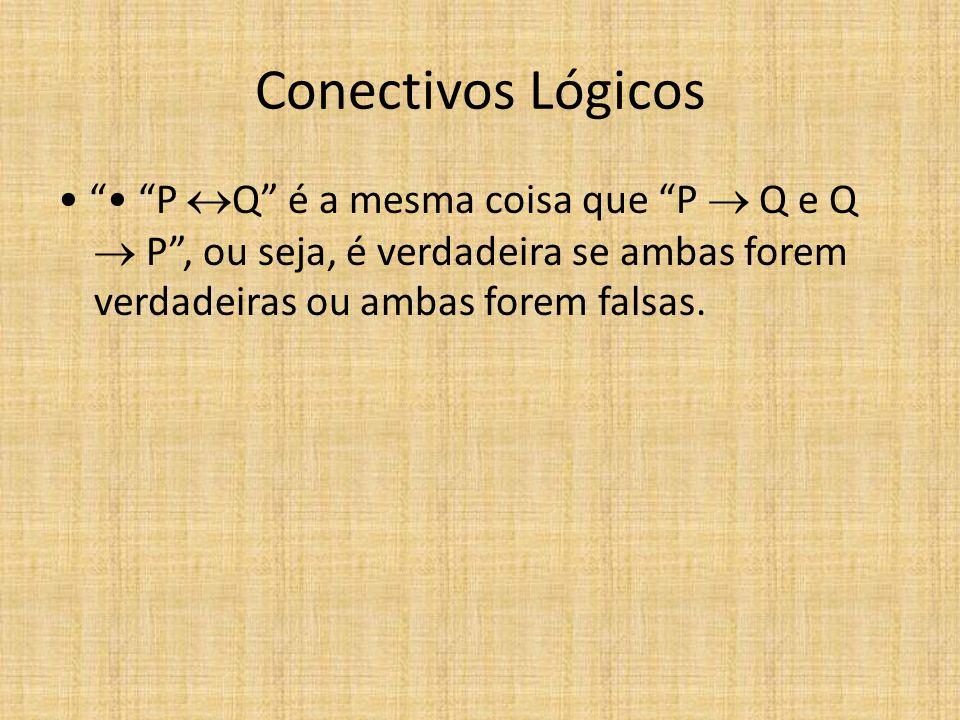 Conectivos Lógicos P Q é a mesma coisa que P Q e Q P, ou seja, é verdadeira se ambas forem verdadeiras ou ambas forem falsas.
