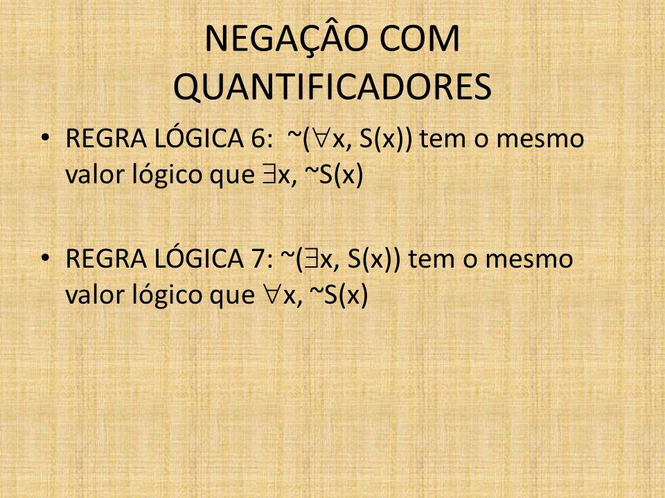 NEGAÇÂO COM QUANTIFICADORES REGRA LÓGICA 6: ~( x, S(x)) tem o mesmo valor lógico que x, ~S(x) REGRA LÓGICA 7: ~( x, S(x)) tem o mesmo valor lógico que