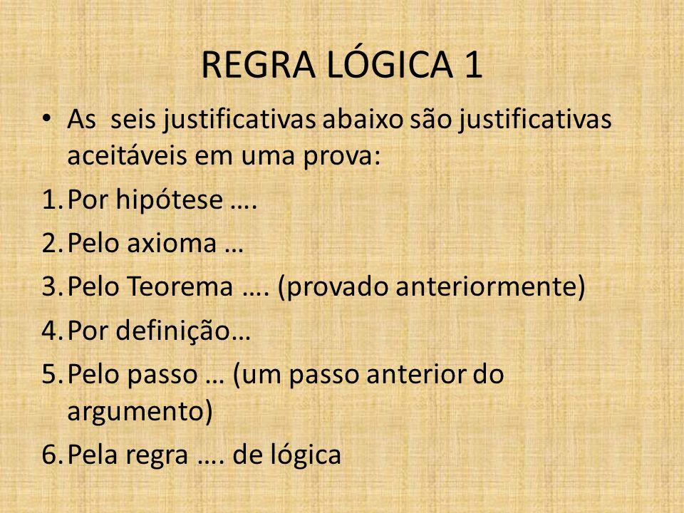 REGRA LÓGICA 1 As seis justificativas abaixo são justificativas aceitáveis em uma prova: 1.Por hipótese …. 2.Pelo axioma … 3.Pelo Teorema …. (provado
