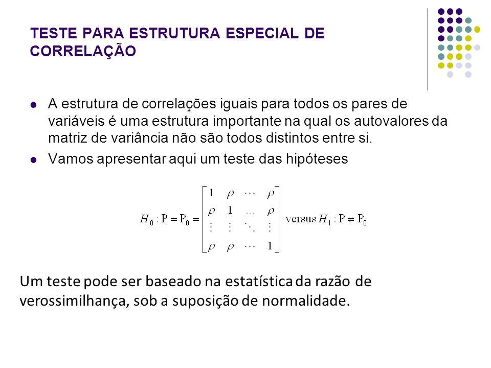 TESTE PARA ESTRUTURA ESPECIAL DE CORRELAÇÃO Lawley (1963) demonstrou que um procedimento de teste equivalente ao teste da R.V.