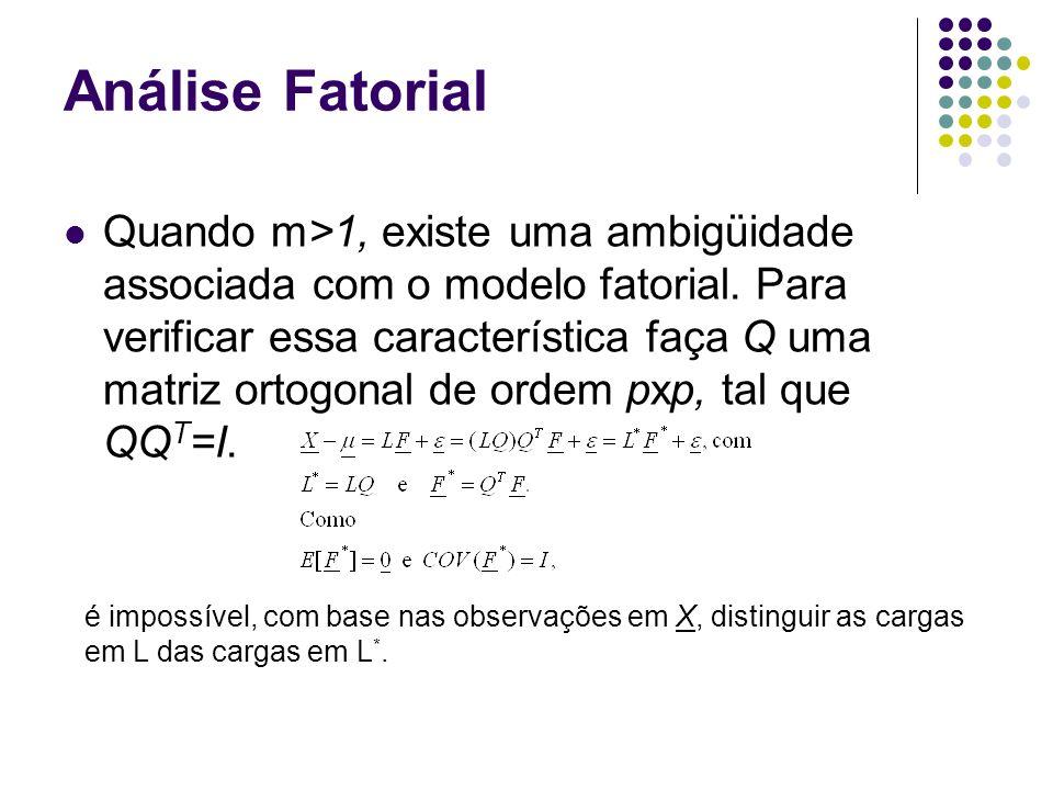 Análise Fatorial Conclusão: os fatores F e F*=Q T F possuem as mesmas propriedades estatísticas e, apesar das cargas em L* serem diferentes das cargas em L, ambas gerarão a mesma matriz de covariância, isto é: LL T + LQQ T L T + L*(L*) T +.