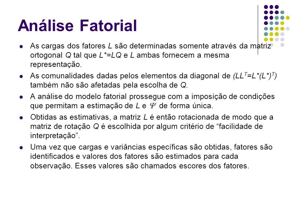 Análise Fatorial: Métodos de Estimação Sejam x 1, x 2,..., x n n observações sobre p variáveis correlacionadas.