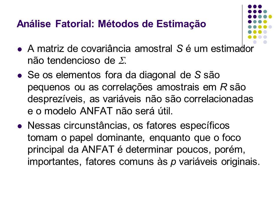 Análise Fatorial: Métodos de Estimação Se parece desviar-se significativamente de uma matriz diagonal, então ANFAT pode ser considerada e o problema inicial será de estimar as cargas dos fatores, l jk, e as variâncias específicas (uniqueness), j.