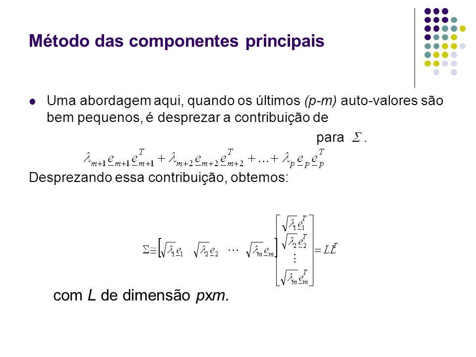Método das componentes principais A representação de obtida assume que os fatores específicos são de menor importância e podem ser ignorados na decomposição da matriz.