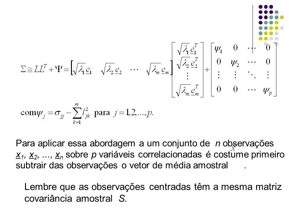 Método das componentes principais Nos casos em que as variáveis apresentam ordens de magnitude muito diferentes, geralmente é preferível trabalhar com a matriz de correlação amostral R.