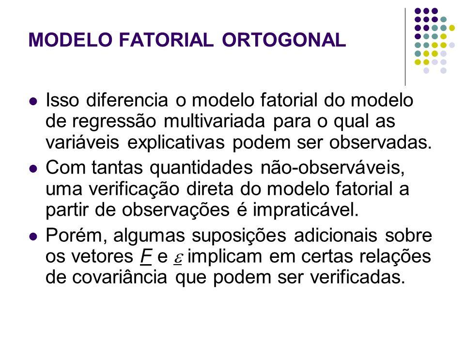 MODELO FATORIAL ORTOGONAL: suposições adicionais Assumimos que: Essas suposições constituem o modelo de análise fatorial ortogonal (ANFAT).