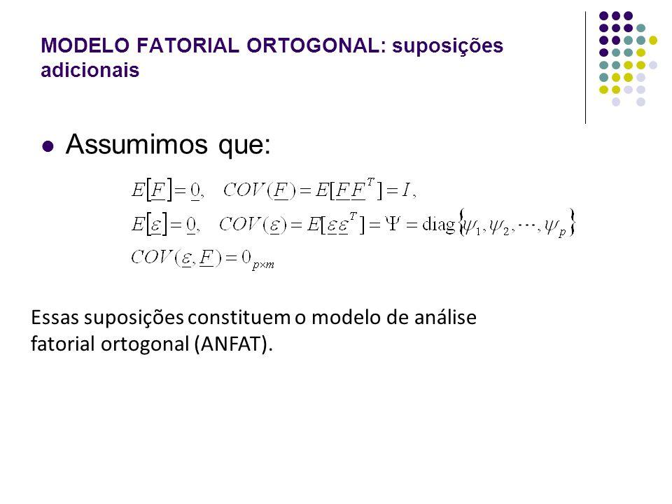MODELO FATORIAL ORTOGONAL: suposições adicionais As suposições apresentadas implicam numa estrutura especial da matriz de covariância, do vetor aleatório X.