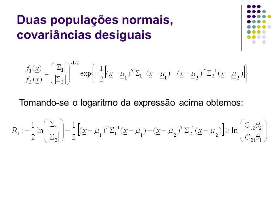 Duas populações normais, covariâncias desiguais Tomando-se o logaritmo da expressão acima obtemos:
