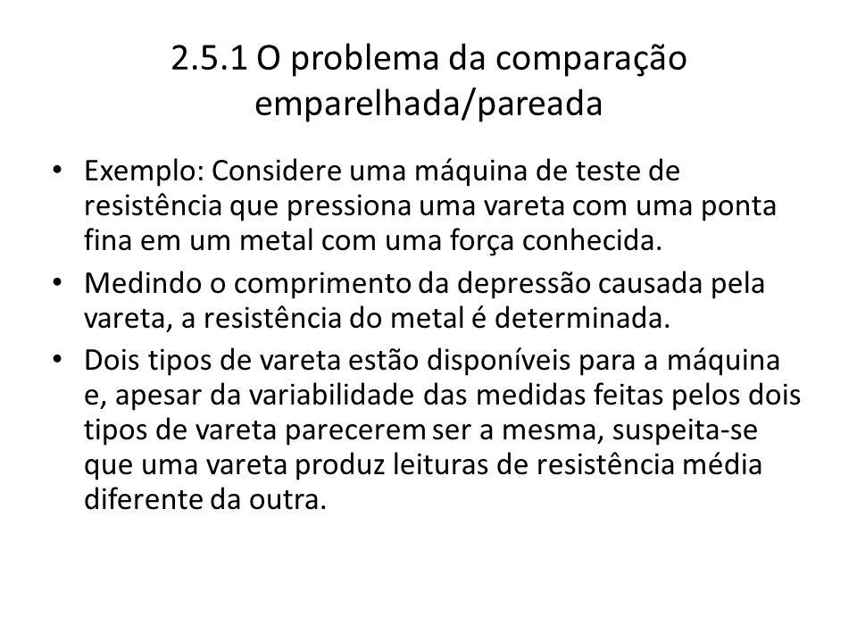 2.5.1 O problema da comparação emparelhada/pareada Exemplo: Considere uma máquina de teste de resistência que pressiona uma vareta com uma ponta fina