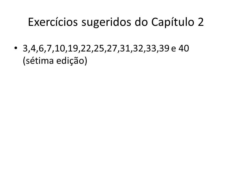Exercícios sugeridos do Capítulo 2 3,4,6,7,10,19,22,25,27,31,32,33,39 e 40 (sétima edição)