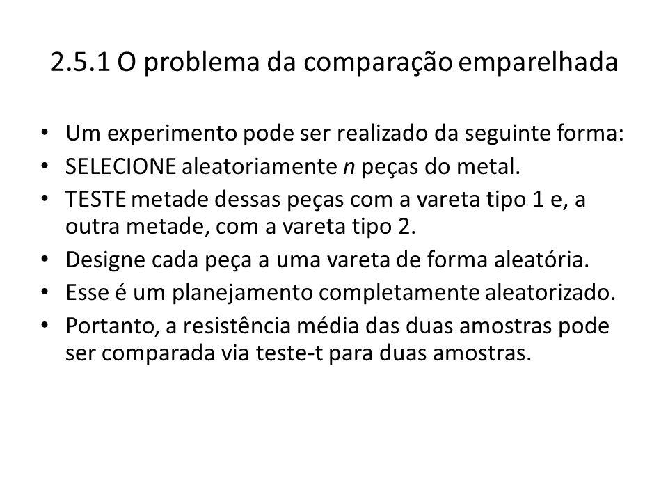 2.5.1 O problema da comparação emparelhada Um experimento pode ser realizado da seguinte forma: SELECIONE aleatoriamente n peças do metal. TESTE metad