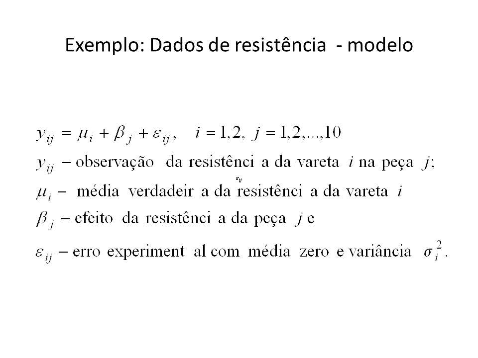 Exemplo: Dados de resistência - modelo
