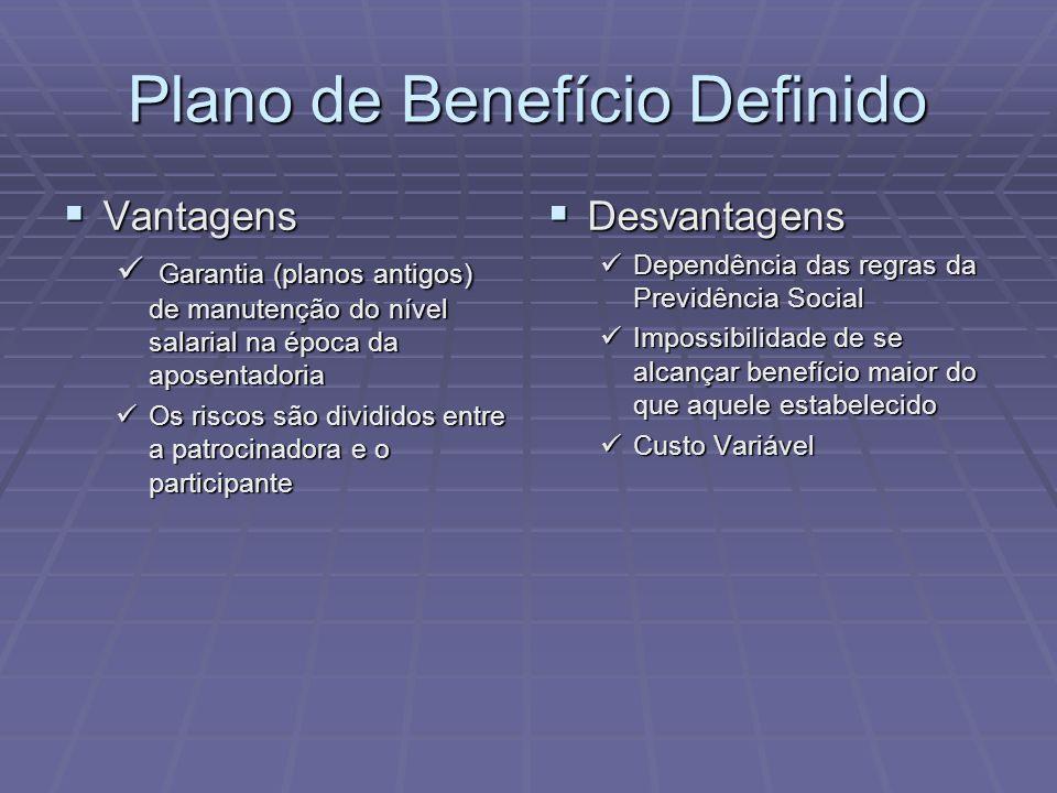 Plano de Benefício Definido Vantagens Vantagens Garantia (planos antigos) de manutenção do nível salarial na época da aposentadoria Garantia (planos a