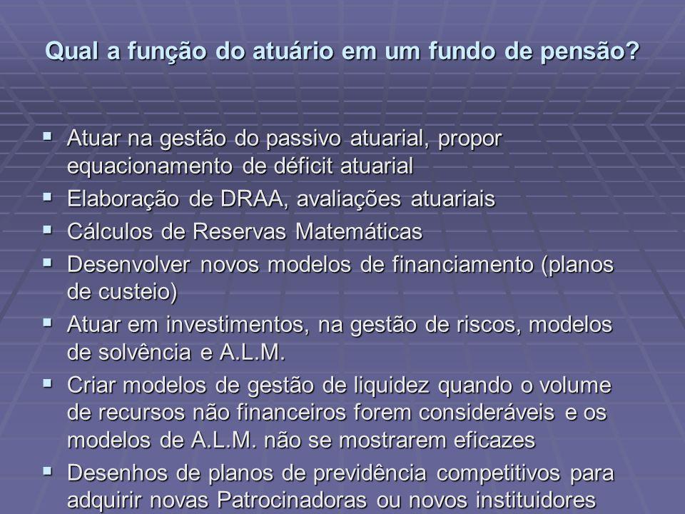 Qual a função do atuário em um fundo de pensão? Atuar na gestão do passivo atuarial, propor equacionamento de déficit atuarial Atuar na gestão do pass