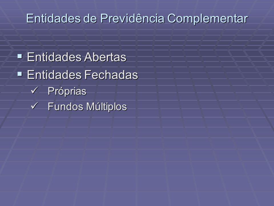 Entidades de Previdência Complementar Entidades Abertas Entidades Abertas Entidades Fechadas Entidades Fechadas Próprias Próprias Fundos Múltiplos Fun