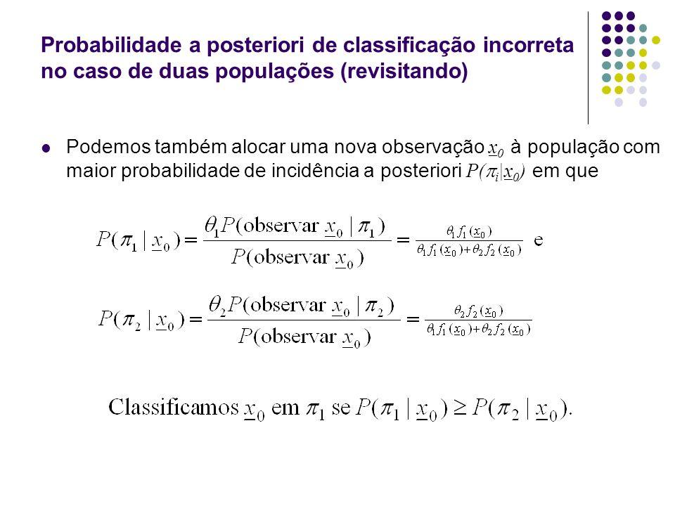 Probabilidade a posteriori de classificação incorreta no caso de duas populações (revisitando) Podemos também alocar uma nova observação x 0 à população com maior probabilidade de incidência a posteriori P( i |x 0 ) em que