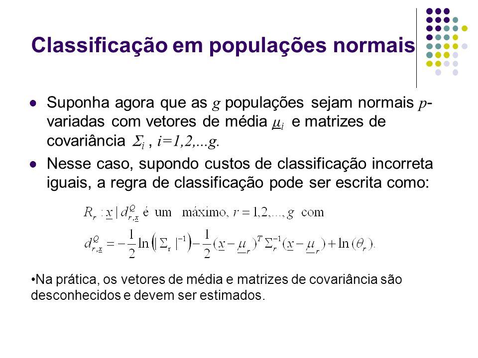 Classificação em populações normais Suponha agora que as g populações sejam normais p - variadas com vetores de média μ i e matrizes de covariância i, i=1,2,...g.
