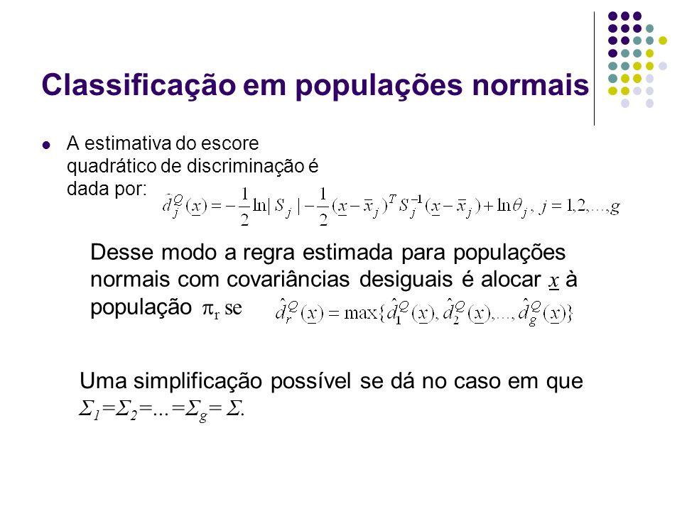 Classificação em populações normais A estimativa do escore quadrático de discriminação é dada por: Desse modo a regra estimada para populações normais com covariâncias desiguais é alocar x à população r se Uma simplificação possível se dá no caso em que Σ 1 =Σ 2 =...=Σ g = Σ.