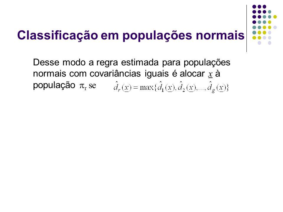 Classificação em populações normais Desse modo a regra estimada para populações normais com covariâncias iguais é alocar x à população r se