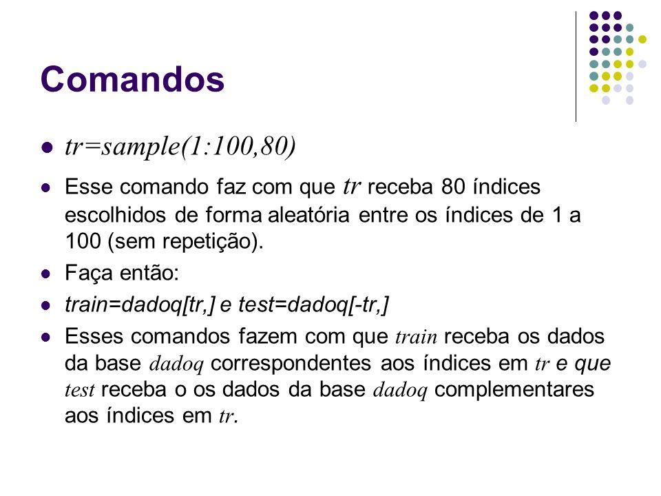 Comandos tr=sample(1:100,80) Esse comando faz com que tr receba 80 índices escolhidos de forma aleatória entre os índices de 1 a 100 (sem repetição).