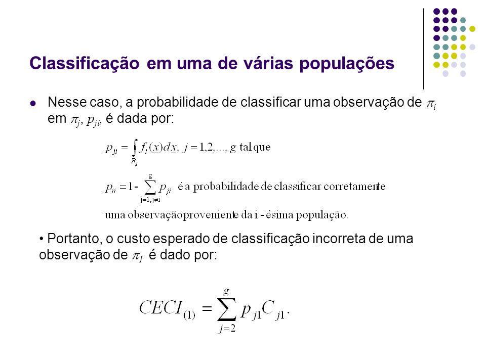 Classificação em uma de várias populações Nesse caso, a probabilidade de classificar uma observação de i em j, p ji, é dada por: Portanto, o custo esperado de classificação incorreta de uma observação de 1 é dado por: