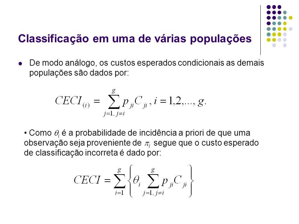 Classificação em uma de várias populações De modo análogo, os custos esperados condicionais as demais populações são dados por: Como i é a probabilida