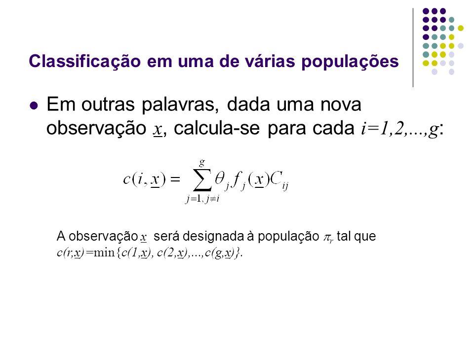 Classificação em uma de várias populações Em outras palavras, dada uma nova observação x, calcula-se para cada i=1,2,...,g : A observação x será designada à população r tal que c(r,x)=min{c(1,x), c(2,x),...,c(g,x)}.