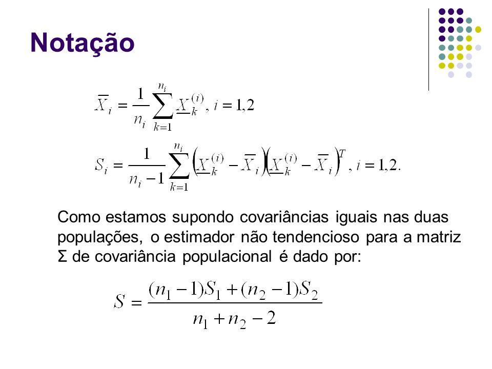 Notação Como estamos supondo covariâncias iguais nas duas populações, o estimador não tendencioso para a matriz Σ de covariância populacional é dado p