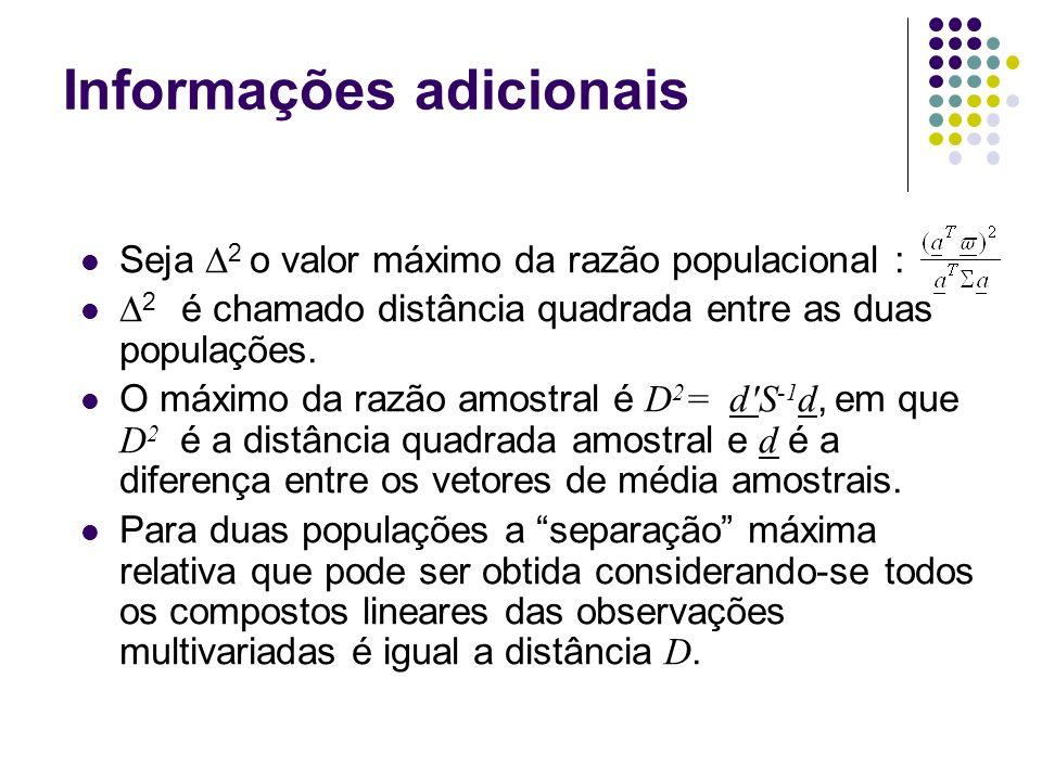 Informações adicionais Seja 2 o valor máximo da razão populacional : 2 é chamado distância quadrada entre as duas populações. O máximo da razão amostr