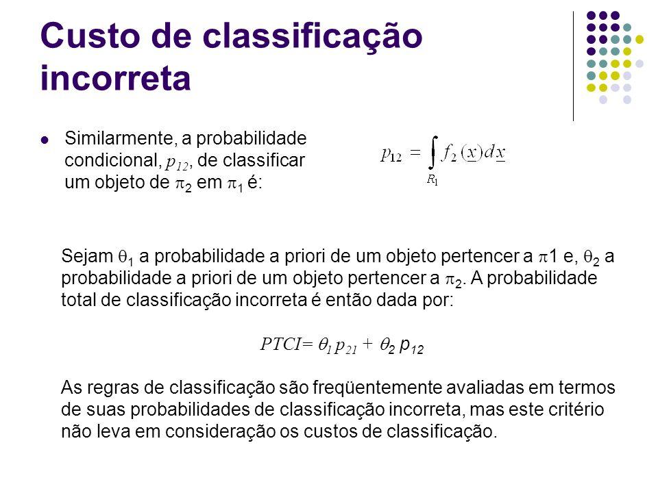Custo de classificação incorreta Similarmente, a probabilidade condicional, p 12, de classificar um objeto de 2 em 1 é: Sejam 1 a probabilidade a prio
