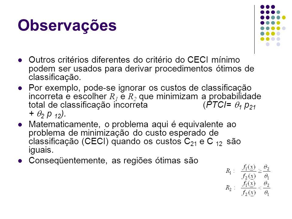 Observações Outros critérios diferentes do critério do CECI mínimo podem ser usados para derivar procedimentos ótimos de classificação.