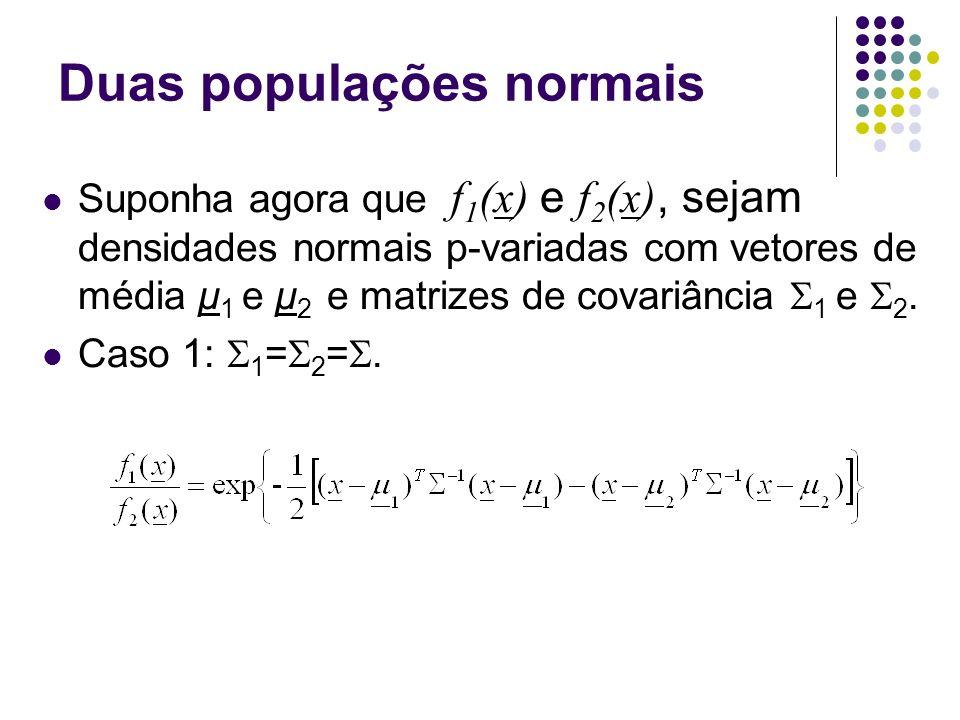 Duas populações normais Suponha agora que f 1 (x) e f 2 (x), sejam densidades normais p-variadas com vetores de média μ 1 e μ 2 e matrizes de covariân