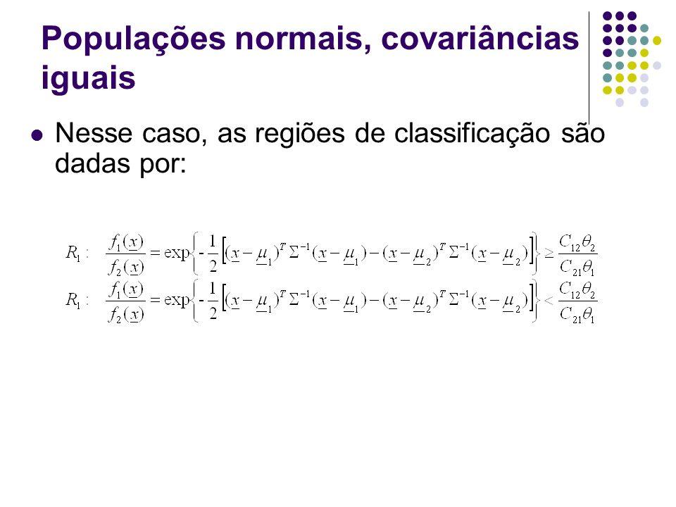 Populações normais, covariâncias iguais Nesse caso, as regiões de classificação são dadas por: