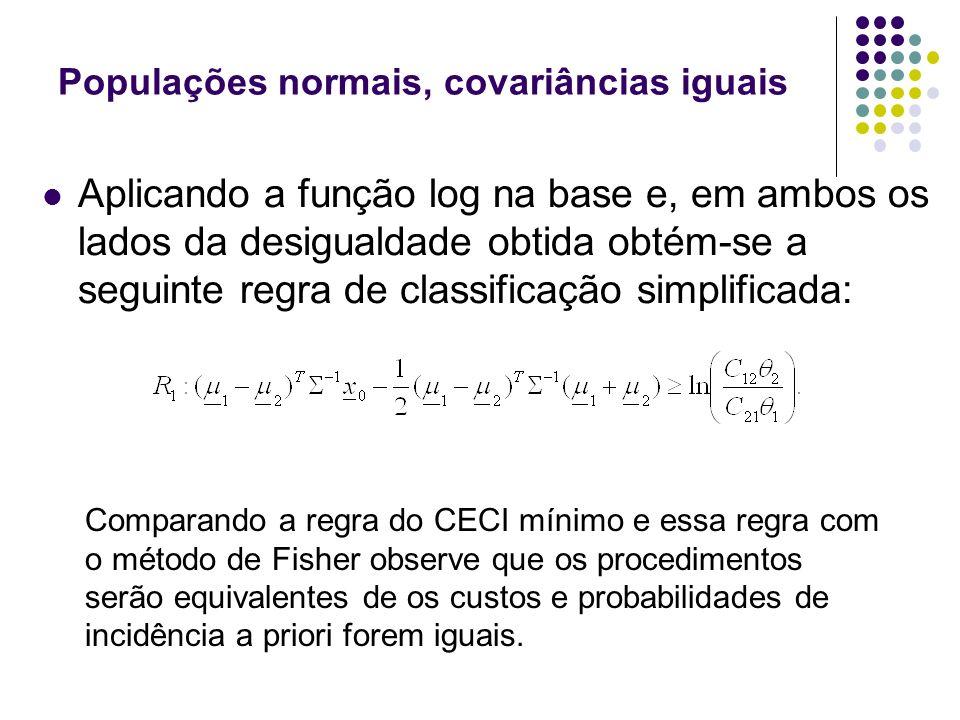 Populações normais, covariâncias iguais Aplicando a função log na base e, em ambos os lados da desigualdade obtida obtém-se a seguinte regra de classi
