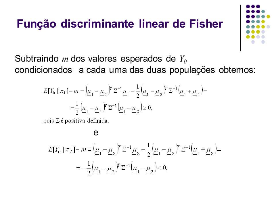 Função discriminante linear de Fisher e Subtraindo m dos valores esperados de Y 0 condicionados a cada uma das duas populações obtemos: