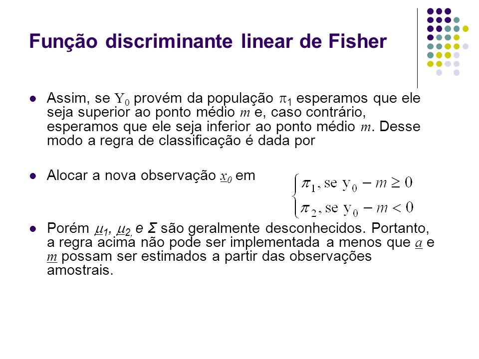 Função discriminante linear de Fisher Assim, se Y 0 provém da população 1 esperamos que ele seja superior ao ponto médio m e, caso contrário, esperamos que ele seja inferior ao ponto médio m.