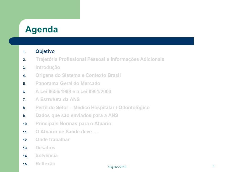 16/julho/2010 24 Agenda 1.Objetivo 2. Trajetória Profissional Pessoal e Informações Adicionais 3.