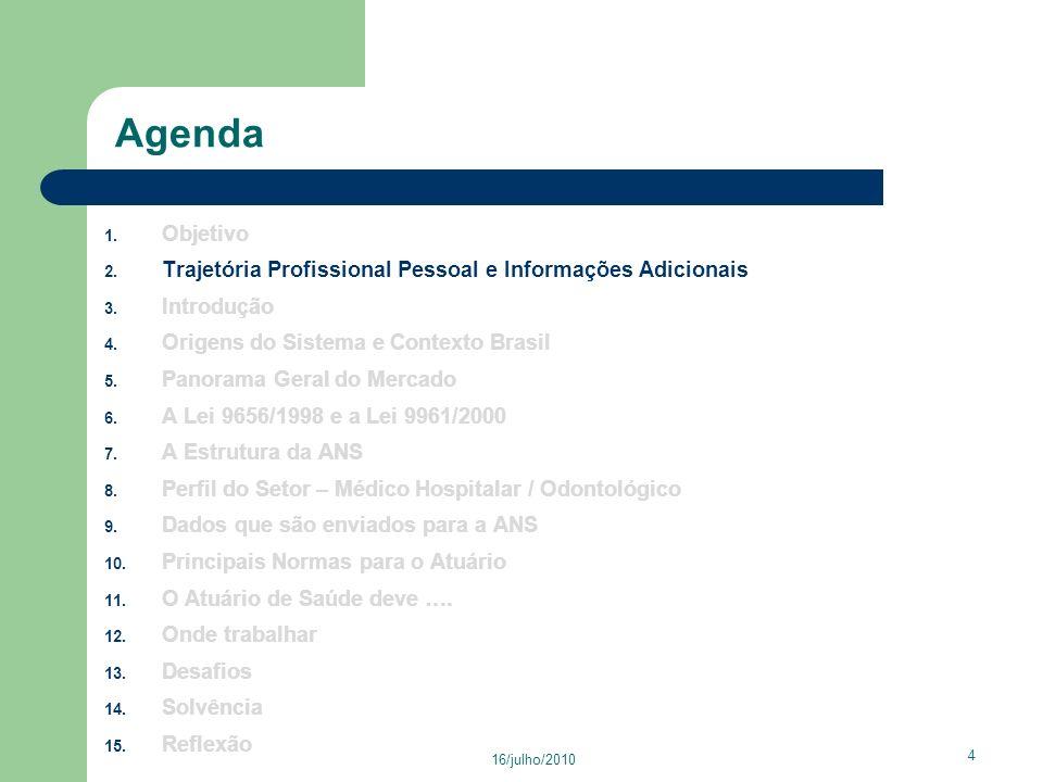 16/julho/2010 15 Agenda 1.Objetivo 2. Trajetória Profissional Pessoal e Informações Adicionais 3.