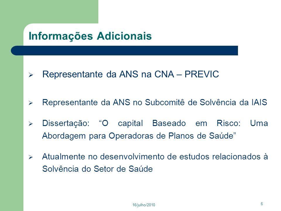 16/julho/2010 57 Agenda 1.Objetivo 2. Trajetória Profissional Pessoal e Informações Adicionais 3.
