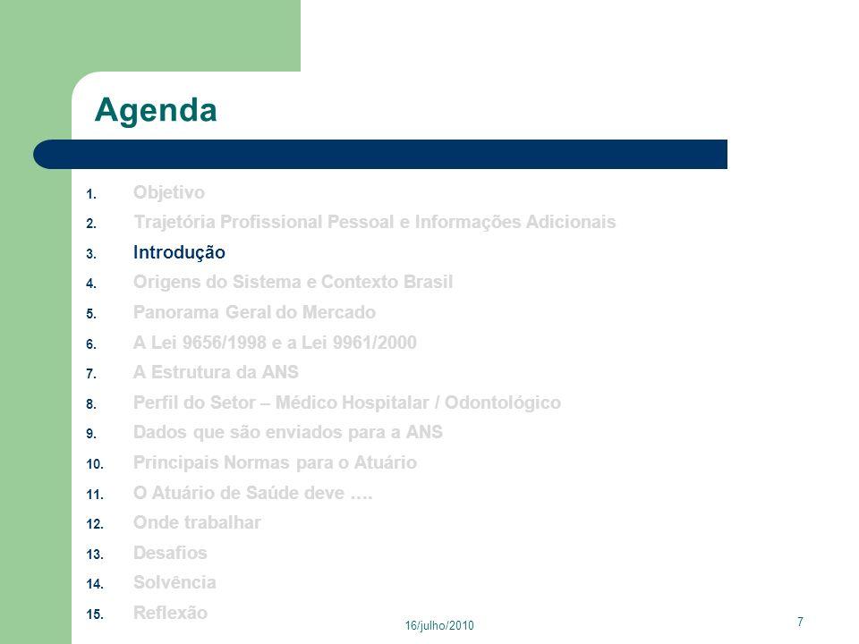 16/julho/2010 48 Agenda 1.Objetivo 2. Trajetória Profissional Pessoal e Informações Adicionais 3.